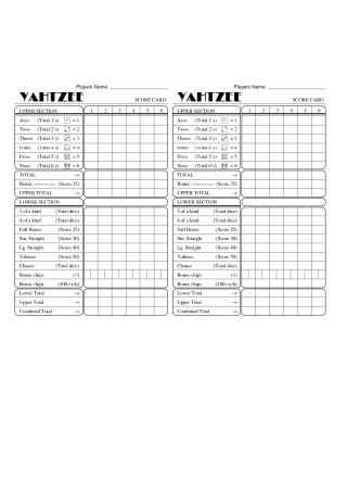 Yahtzee Score Sheet Template