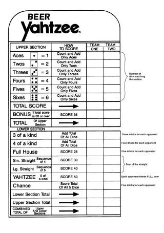 Yahtzee Scorecard Example