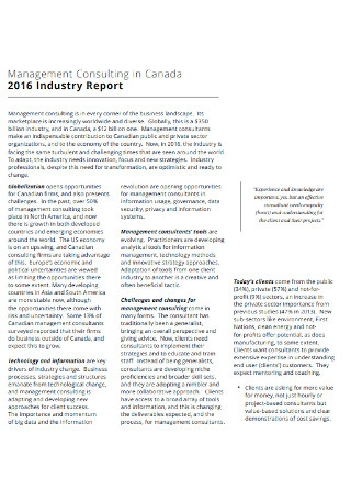 industry Management Consulting Report