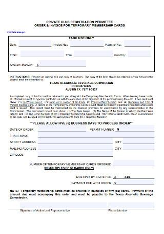 invoice for Temporary Membership Card