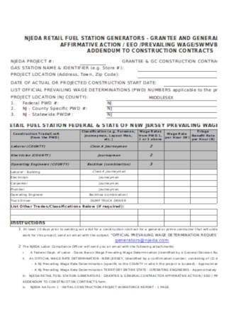 Addendum for Construction Contract Template