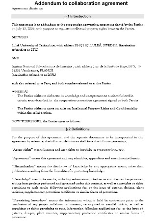 Addendum to collaboration agreement