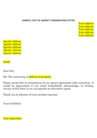 Agency job Termination Letter