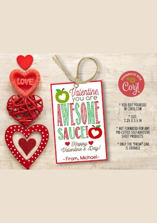 AppleSauce Valentine Gift Tag Template