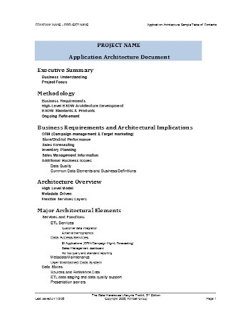 Architecture Sample Table of Contents Template