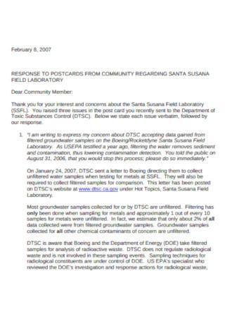 Basic Community Service Letter