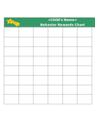 Behavior Reward Chart Template
