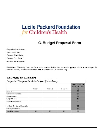Budget Proposal Form Template