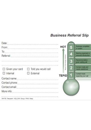 Business Referral Slip