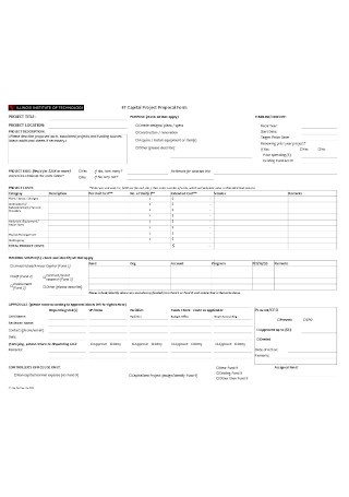Capital Project Proposal Form Template