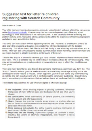 Children Community Service Letter Template