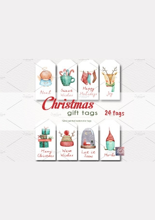 Christmas Gift tags Watercolor Templates