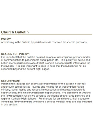Church Bulletin Policy Template