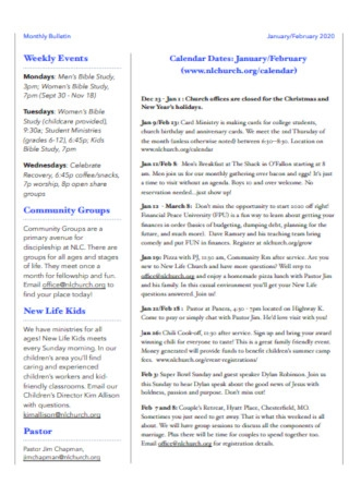 Church Monthly Bulletin Template