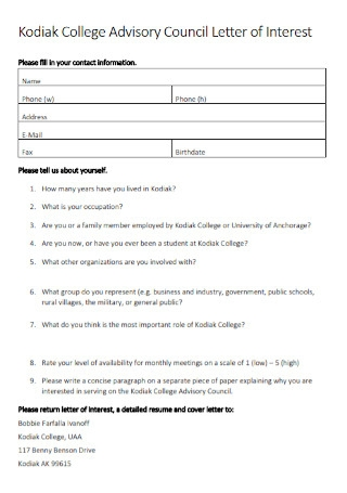 College Advisory Council Letter of Interest Template
