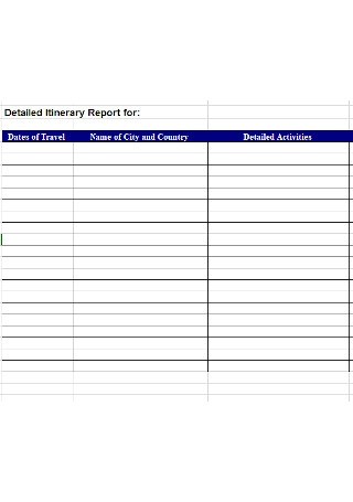 College Itinerary Report Template