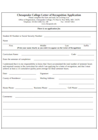College Letter of Recognition Application