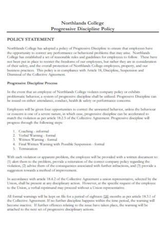 College Progressive Discipline Policy