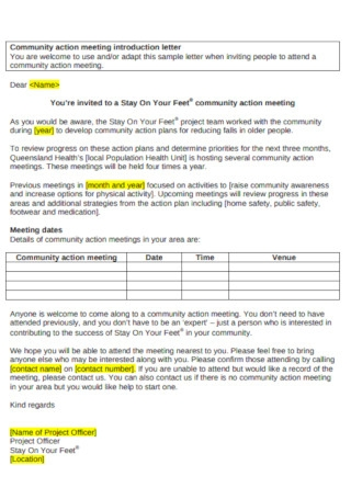 Community Action Meeting Introduction Letter