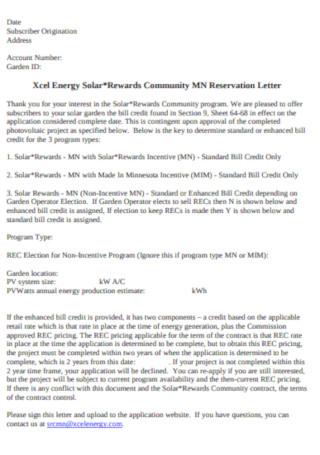 Community MN Reservation Letter