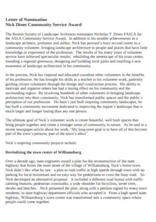 Community Service Award Letter