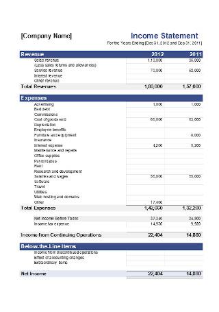 Company Income Statement Template