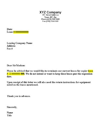 Company Lease Termination Letter