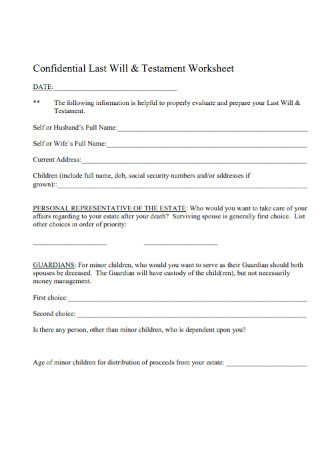 Confidential Last Will Testament Worksheet