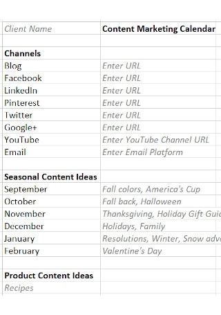 Content Marketing Calender Template