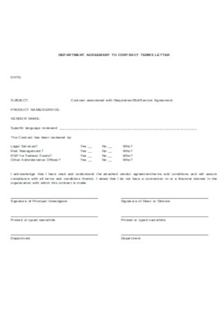 Contractor Agreement Letter Template