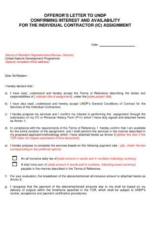 Contractor Letter of interest Template