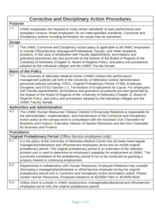 Corrective and Disciplinary Action Probation Template