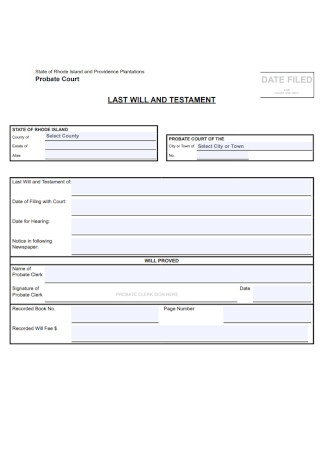 Court Last Will and Testament Template