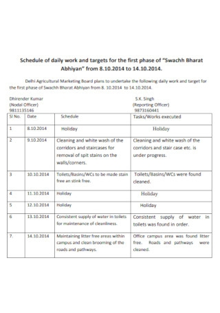 19 Sample Daily Work Schedules In Pdf Ms Word