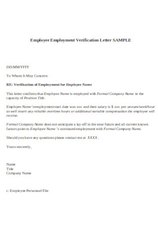 Employee Employment Verification Letter