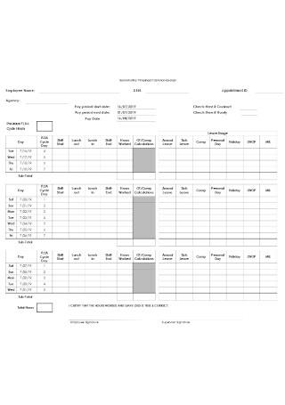 Employee Monthly Timesheet Example