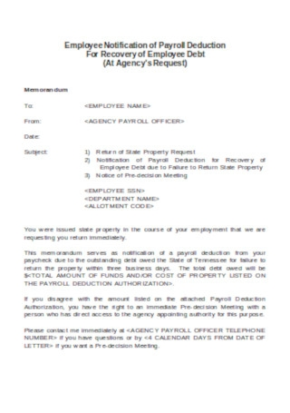 Employee Notification of Payroll Deduction Template