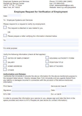 Employee Request for Verification of Employment Letter