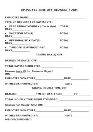 Employee Time Off Request Form Template