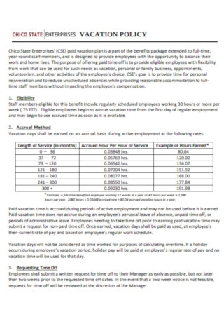 Employee Vacation Tracker Policy Template