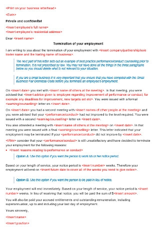 Employement Termination Letter Template
