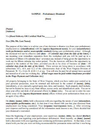 Employemet Probationary Dismissal Letter