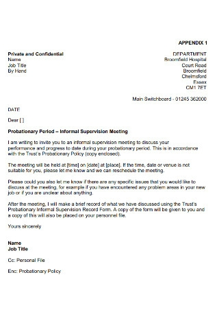 Employment Private Probationary Period Letter