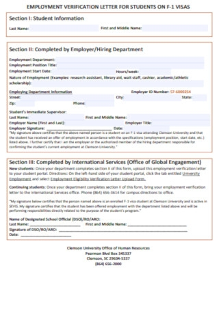 Employment Verification LEtter for Student Template