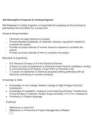 Engineer Job Description Proposal
