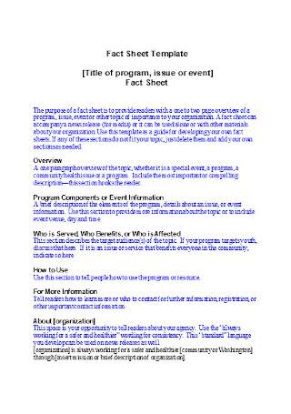 Event Fact Sheet Template