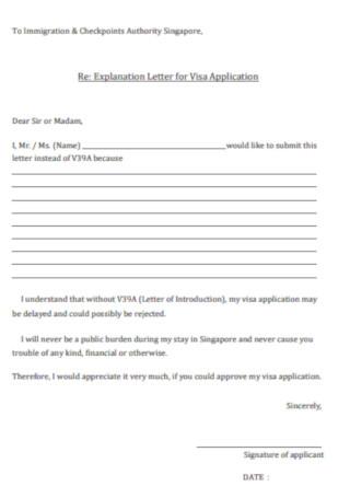Explanation Letter for Visa Application