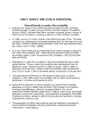 Fact Sheet on Child Servivial Template