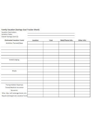 Family Employee Vacation Tracker Sheet