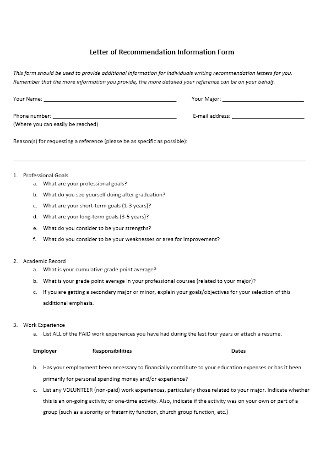 Feternity Letter of Recommendation Information Form